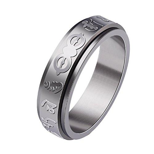 HIJONES Herren Edelstahl Buddhha Mantra Glück Spinner Ring Silber