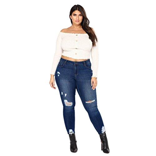 Jeans Hosen BakeLIN Damen High Waist Große Größen Löcher Skinny Elastizität Dünne Hosen (2XL~7XL, Dunkelblau Hellblau)