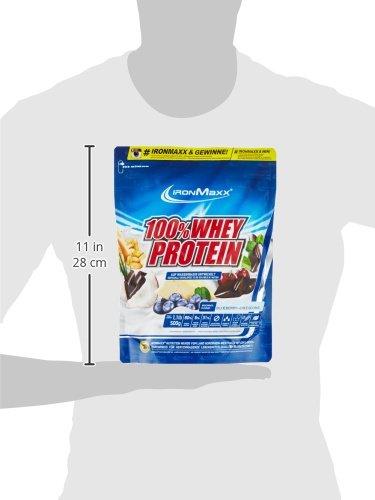 IronMaxx 100% Whey Protein Pulver / Whey Eiweißpulver für Proteinshake / Wasserlösliches Proteinpulver mit Blaubeere-Käsekuchen Geschmack / 1 x 500 g Beutel