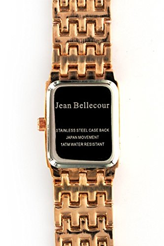 Jean-Bellecour–reds25-Damen-Armbanduhr–Quarz-Analog–Zifferblatt-schwarz-Armband-Stahl-vergoldet-Gold
