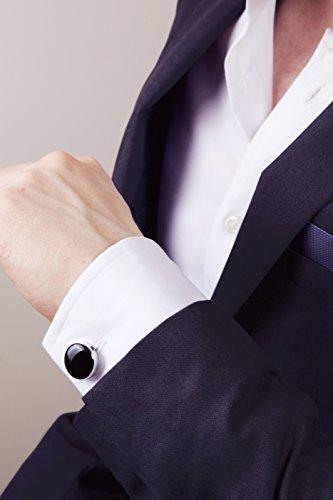 Schwarze Knopfclips – Die Alternative für Manschettenknöpfe für gewöhnliche Hemden (Standard – 18mm)