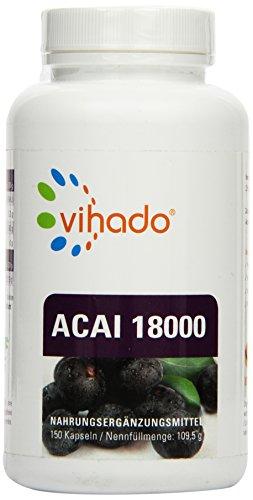 Vihado Acai 18000 MAXIMUM – hochdosierter original Beeren Extrakt, 150 Kapseln, 1er Pack (1 x 109,5 g)