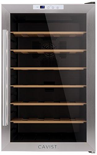 CAVIST-CAVIST28-Weinkhlschrank-28-Flaschen-70L-Kapazitt-6-Regale-aus-Holz-11C-bis-18C-silber