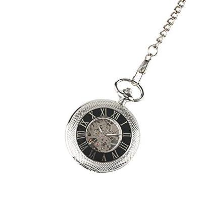 Skelett-Mechanisches-Uhrwerk-Taschenuhr-fr-Herren-Sohn-Papa