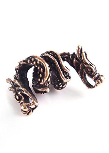 Bartperle / Dreadlockperle aus Bronze Zweiköpfiger Drache