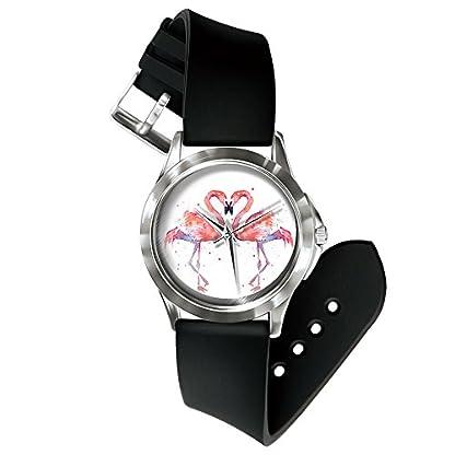 Homim-Unisex-Armbanduhr-Damen-Herren-Quarzuhr-Analog-Rund-Flamingos-Herz-Form-Zifferblatt-PVC-Schwarz-Armband-Dornschliee