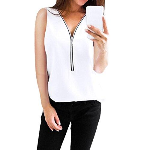 Sunnywill-damen-tshirt-Damen-Tshirt-Oberteile-Elegant-Sommer-Reiverschluss-rmellose-beilufige-Weste-Bluse-LooseTop