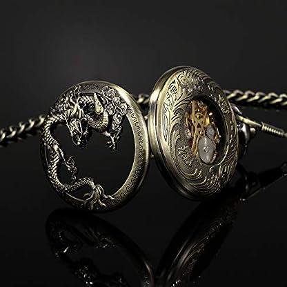 TREEWETO-Taschenuhr-mit-Kette-Herren-Analog-Handaufzug-Doppelscharnier-Antik-Drache-Rmische-Ziffern-Bronze