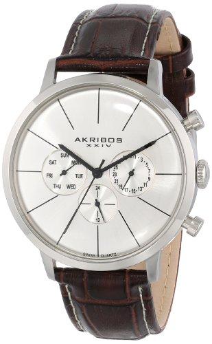 Akribos-XXIV-Herren-s-Ultimate-Edelstahl-Armbanduhr-mit-croco-embossed-Band