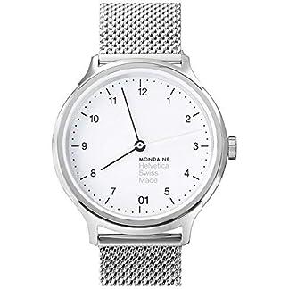 Mondaine-Helvetica-No1-Regular-Damenuhr-weisses-Zifferblatt-mit-Datumsanzeige-Silberfarbenes-Mesh-Armband