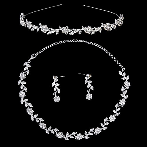 ROSENICE Hochzeit Schmuck Set Kristall Diademe Silber Blume Blatt Halskette Ohrringe Set