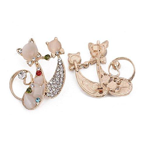 Hosaire Damen Broschen Dual-Diamant Brosche Wilden Katze Retro-Kleidung Opalbrosche Katze Form Brooches (Gold)