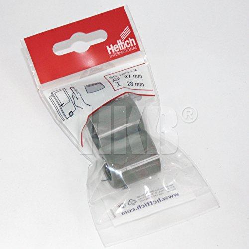 HKB ® 2 Stück Tür-Stopper zum Anschrauben, Puffer, auch als Abstandshalter, ø = 27mm 28mm hoch, Kunststoff grau, mit Dübel, Schrauben und Abdeckkappen, Hersteller Hettich, Artikel-Nr. 0062826