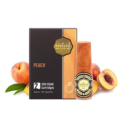 KNUQO Wiederaufladbare E Cigar Einweg-Cartomizer – Pfirsich-Geschmack | 2 Stück| eShisha e Zigarette Refill | Elektronische Zigarette-e Shisha Stick | Nikotinfrei | e Shisha | eShisha Club