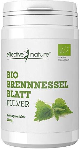 effective nature Bio Brennesselblatt Pulver – Reich an Chlorophyll – Ohne Zusatzstoffe – 140g / 500g