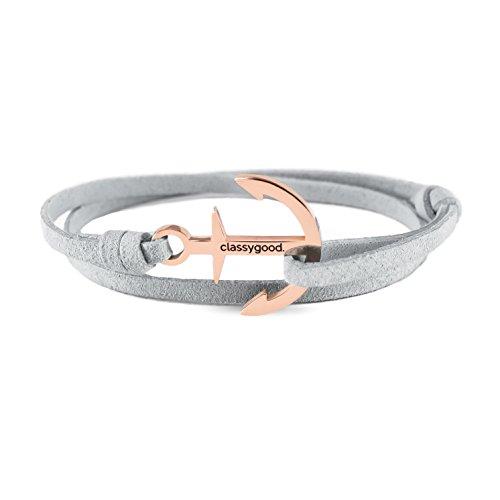 "classygood. Anker Armband ""Classy Bracelet"" roségold & silber, Alcantara-Leder Band grau für Damen/Herren"