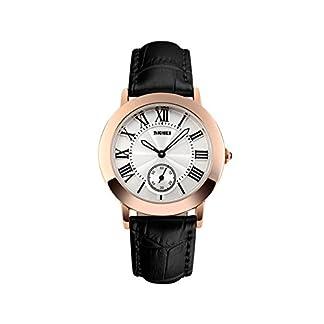 iLove-EU-Damen-Armbanduhr-30m-Wasserdicht-Analog-Quarz-Leder-Band-Business-Uhr-Sportuhr-mit-Rmischen-Ziffern-Zifferblatt-Schwarz