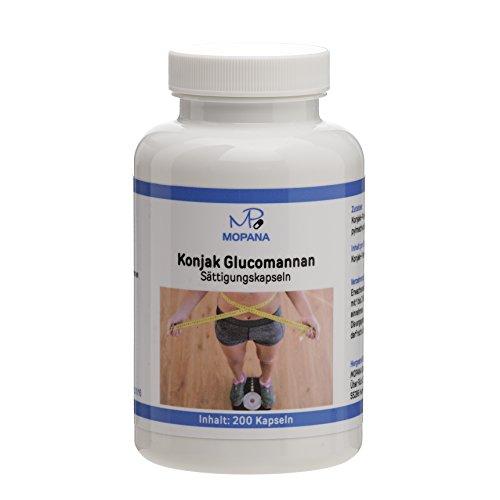MOPANA Konjak Glucomannan Sättigungskapseln zum Abnehmen – 200 Kapseln – 3,2 Gramm Konjak-Pulver pro Tagesdosis
