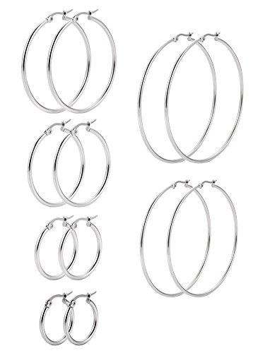 6 Paare Edelstahl Ring Ohrringe Set Ohr Hoop Rund Ohr Ringe Set, 6 Größen