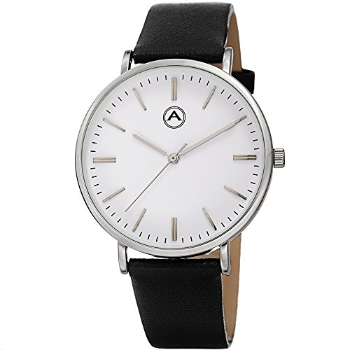 Akribos-XXIV-Unisex-ak1033ss-rund-silber-Ton-Fall-Lederband-Armbanduhr