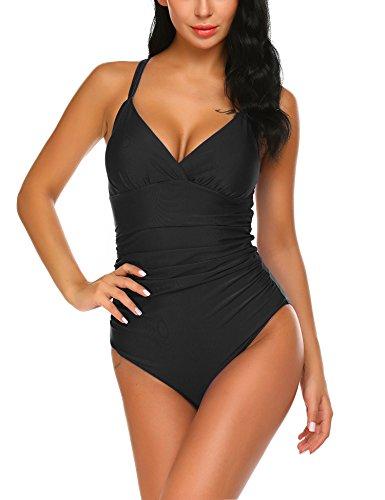 Unibelle Damen Pin up Monokinis Badeanzug Elegant Inspiriert Vintage Einteiler Bademode Set Tankini Bikini Bottoms Badeanzüge