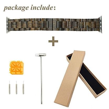 X-Cool-100-Umweltfreundlich-Natrliche-handgemachte-Holz-Armbanduhr-Ersatzband-Gurt-Armband-mit-Adapter-Doppel-Faltschliee-Buckle-fr-Apple-Armbanduhr