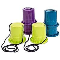 Unbekannt-Laufstelzen-Set-3-Paar-in-lila-Limette-Petrol-Kinder-Topfstelzen