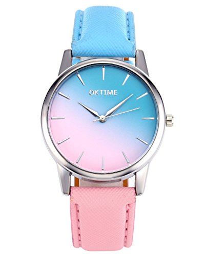 JSDDE-UhrenFashion-Cute-Candy-Farbe-Damen-Armbanduhr-Blau-Pink-Farbverlauf-Kleid-Uhr-PU-Lederband-Analog-Quarz-Uhr