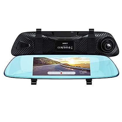 AUKEY-Dash-Cam-Spiegel-68-cm-68-Zoll-LCD-Touchscreen-mit-Rckkamera-und-Parkmodus-170-und-1080p-Frontkamera-und-160-Rckkamera-und-720p-wasserfest