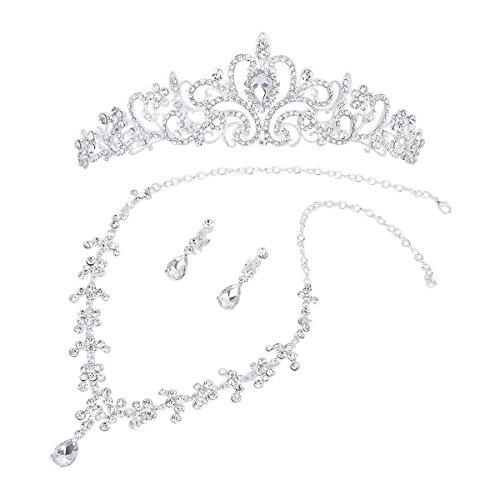 WINOMO Strass Diademe Halskette Ohrringe Hochzeit Partei Schmuck Set
