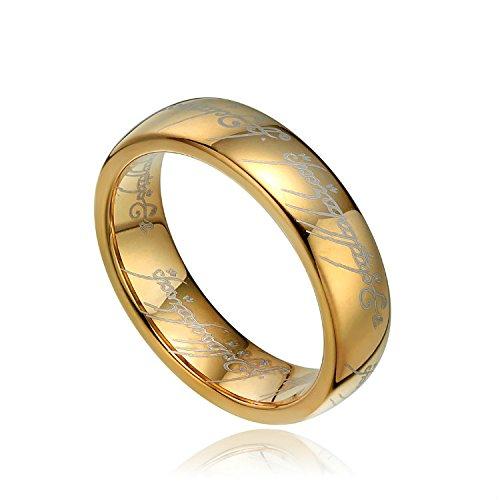 Titaniumcentral 6mm 8mm Herren Wolfram Ring Wolframcarbid Herr der Ringe – Der Eine Ring Gold Polierte
