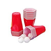 Original-Cup-Square-Cup-Beer-Pong-Kit-Premium-Quality-22-Rote-Hex-Amerikanische-Tassen-4-Beer-Pong-Blle-Party-Game-Trinkspiel