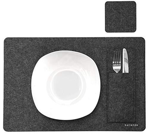 bellendo Tischset Filz 4er Set mit Glasuntersetzer und Bestecktaschen | Design Platzset, Filzuntersetzer waschbar – 45×30 cm – grau (anthrazit)
