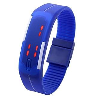 JSDDE-UhrenTouch-Screen-LED-Digital-Uhr-Quarzuhr-Sportuhr-Silikon-Herren-Damen-ArmbanduhrDunkelblau