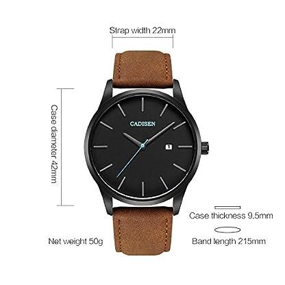 Cadisen-Herren-Armbanduhr-mit-Lederarmband-lssiger-Stil-Business-Stil-wasserfest-Datumsanzeige-modische-Armbanduhr-fr-Mnner-braunes-Armband-schwarzes-Zifferblatt