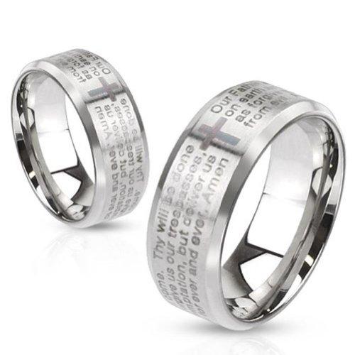 Paula & Fritz® Ring aus Edelstahl Chirurgenstahl 316L gebürstet und mit Lasergravur Vaterunser verfügbare Ringgrößen 47 (15) – 69 (22) R-M2769