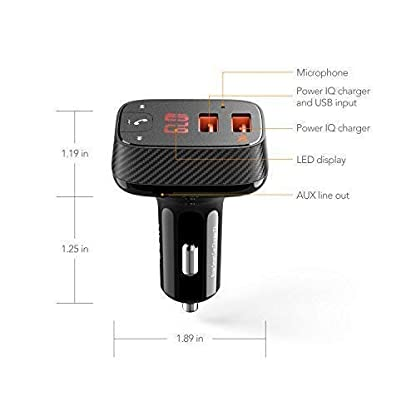 ROAV-Auto-Ladegert-Bluetooth-Adapter-FM-Transmitter-Bluetooth-Receiver-mit-Auto-Finder-von-Anker-24W48A-SmartCharge-Car-Kit-F2-mit-FreisprecheinrichtungGPS-Tracker-App-fr-iOS-und-Android-Gerte