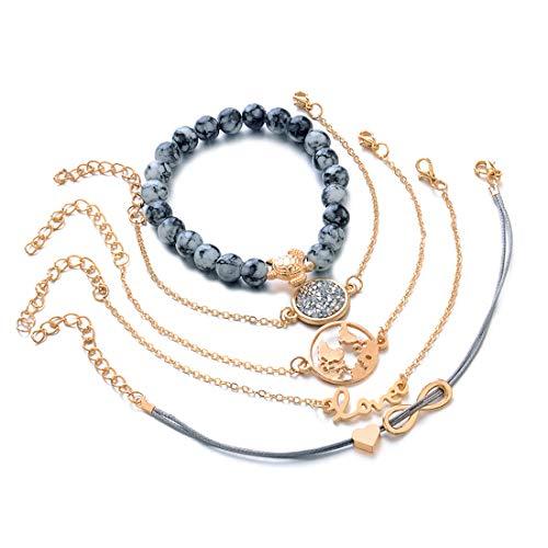 Yesiidor 5Pcs böhmisches mehrschichtiges Armband-Gesetzte Frauen-Mädchen-Art und Weise Vinatge Reizend Schildkröte-Korn-Liebes-Karten-Goldketten-Armband-Armband-Geschenk