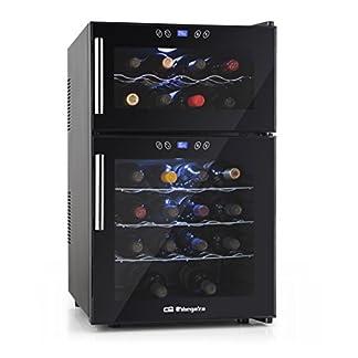 Orbegozo-VT-2410-Weinschrank-fr-24-Flaschen-Zwei-Zonen-Temperatur-140-W-Leistung-52-Liter-Volumen-digitales-Display-Touch-Control-Panel-LED-Beleuchtung