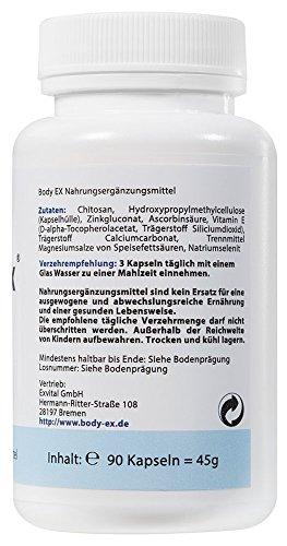 Body Ex, 90 Kapseln in Premiumqualität. Hochdosierte Chitosan Kapseln pro Tagesdosis,1er Pack (1x 45g)