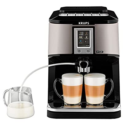 Krups-EA880E-Kaffeevollautomat-One-Touch-Cappuccino-Two-in-One-Touch-Funktion-TFT-Farbdisplay-mit-Touchscreen-17-L-15-bar-silberschwarz