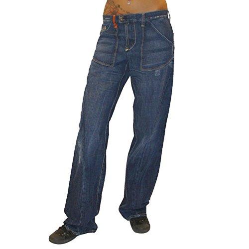 MET Design Damen Jeans Low Pant Jeanshose Baggy Hose gerades Bein blau used