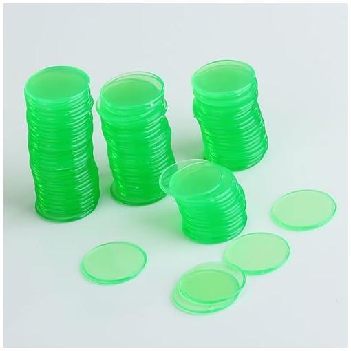 100-Stk-Klar-Grn-Plastik-Bingo-Chips-34-Inch