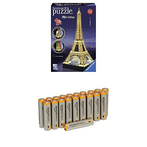 Ravensburger-125791-Eiffelturm-bei-Nacht-Puzzle-3D-Puzzle-Bauwerk-Night-Edition-216-Teile-mit-AmazonBasics-Batterien