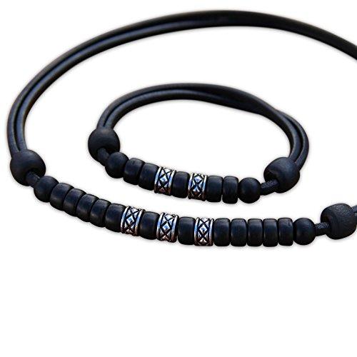 HANA LIMA ® Schmuck Set Lederkette Surferkette Halskette Armband Lederarmband Surferarmband