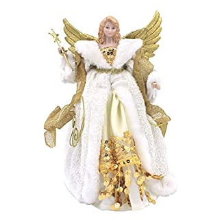 The-Christmas-Workshop-82050-12-Zoll-30-cm-Traditionelle-Top-Angel-Weihnachtsbaum-CremeGold