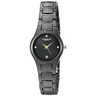 Akribos-XXIV-Damen-Quarzuhr-mit-schwarzem-Zifferblatt-Analog-Anzeige-und-schwarz-Keramik-Armband-ak581bkg