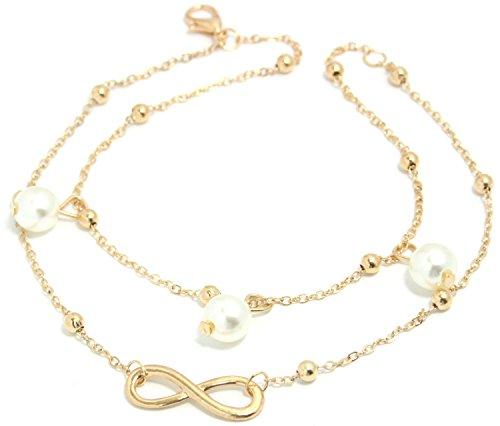 2LIVEfor Elegante Fußkettchen Infinity mit Perlen weiß Fußkette Silber Damen Anhänger Glitzer Fusskettchen rosegold und silber Knöchelkette Damen Fußkette Mädchen Vintage