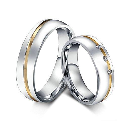 Daesar 2 x Eheringe Hochzeitsringe Band Edelstahl Silber Ring Zirkonia 6MM