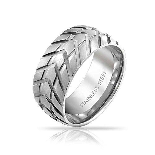 Bling Jewelry Mens Band Edelstahl Reifenprofil Stil Nutring